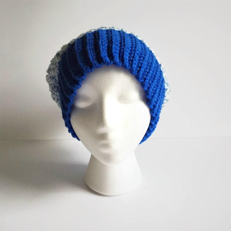 Crochet Winter Hat Adult Blue Ski Hat with Pom Pom