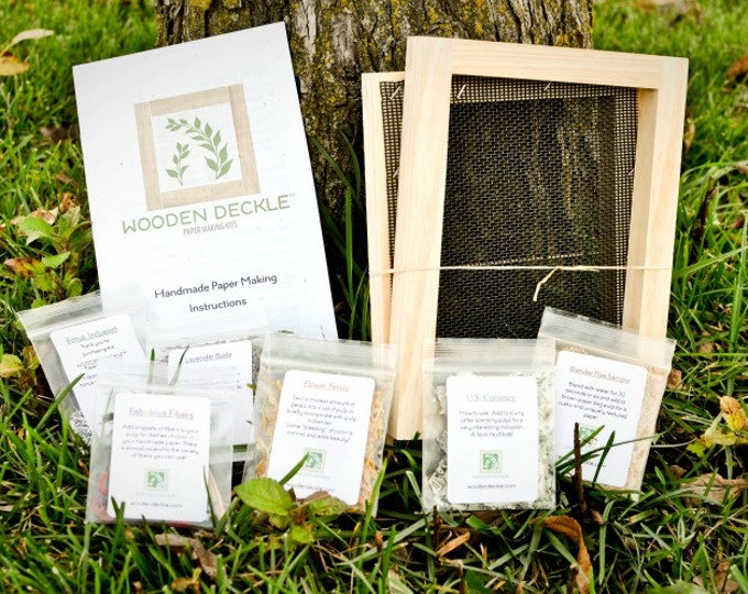 """Paper Making Kit: Original 5x7"""" - Kit for Handmade Paper by Wooden Deckle - A7 - Papermaking by Recycling Used Paper - Make Your Own Paper"""