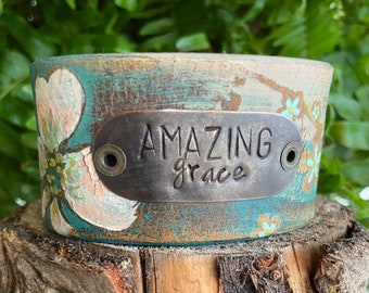 Leather Word Cuff-Art Collection--Weathered Leather- Amazing Grace-6.5 Inch Wrist
