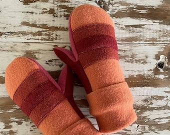 Felted Wool Mittens-Boho Orange Stripes-Women-Teens-