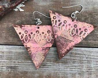 Painted Leather Earrings--Triangles-Boho Earrings-Mini Canvas-Pink Lace-