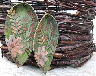 Painted Leather Earrings-Art Collection-Large Pinched Leaves-Florals