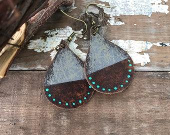 Weathered Leather Earrings-Remnants Collection-Chunky Teardrop-Boho Earrings-Bohemian Graffiti
