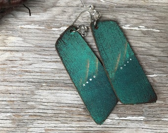 Painted Leather Earrings-Remnants Collection--Boho Earrings-Slanted Rectangles-Modern