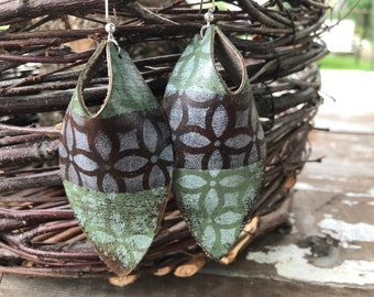 Weathered Leather Earrings-Remnants Collection-Large Open Hole Ovals-Boho Earrings-Bohemian Graffiti