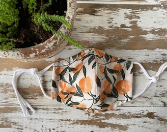 Peaches Mask-Adult-Cotton Mask-Cloth Mask-Washable Face Mask--Nose Wire-