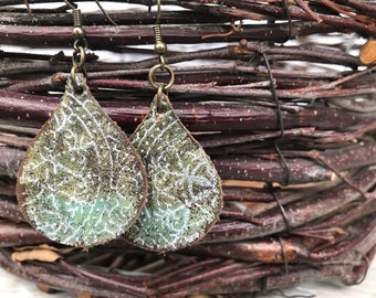 Weathered Leather Earrings-Remnants Collection-Chunky Teardrop-Boho Earrings-Faded Lace