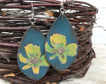 Weathered Leather Earrings-Art Collection-Floral Teardrop-