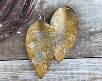 Painted Leather Earrings-Remnants Collection-Large Pinched Leaves-Bohemian Floral