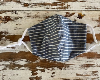 Simple Stripes Mask-Adult-Cotton Mask-Cloth Mask-Washable Face Mask--Nose Wire-