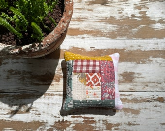 Quilted Pin Cushion-Scrap Lover-Ground English Walnut Shells-One of A Kind