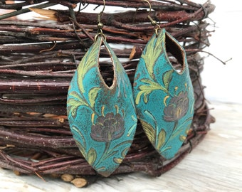 Weathered Leather Earrings-Art Collection-Large Open Hole Ovals-Boho Earrings-Hand Painted Flowers