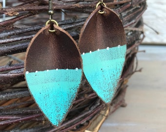 Painted Leather Earrings-Remnants Collection-Medium Pinched Leaves-Aqua Lines