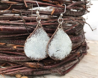 Weathered Leather Earrings-Remnants Collection-Chunky Teardrop-Boho Earrings-Chippy White