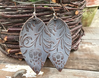 Painted Leather Earrings-Remnants Collection-Large Pinched Leaves-Gray Florals