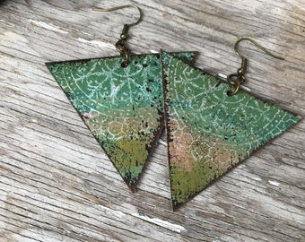 Painted Leather Earrings--Triangles-Boho Earrings-Mini Canvas-Weathered Lace-Pastel Rainbow