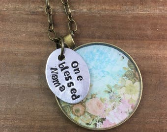 Blessed Mama Necklace-Mother's Day Gift-Stamped Jewelry-Resin Bezel