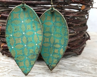 Painted Leather Earrings-Remnants Collection-Large Pinched Leaves-Bohemian Graffiti