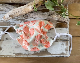 Adult Face Mask-Cotton Jersey Blend Mask-Cloth Mask-Washable Face Mask-Pink Lemonade-Adjustable Ties