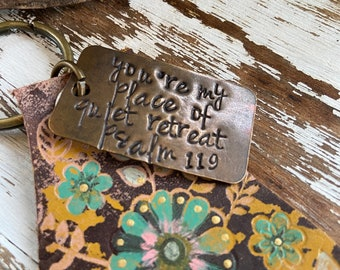 Leather Stamped Keychain-Zipper Pull-Painted Leather-Art Collection-Quiet Retreat-Psalm 119
