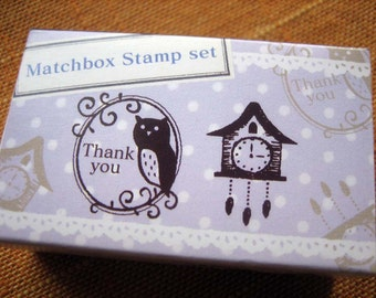 japanese rubber stamp set-2 stamps in a matchbox, owl and clock set