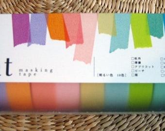 japanese masking tape, 10 colors set, bright light colors