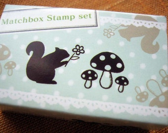 japanese rubber stamp set-2 stamps in a matchbox, squirrel and mushrooms