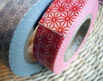 japanese washi masking tape, set of 2 rolls with a traditional star pattern, in red and grey