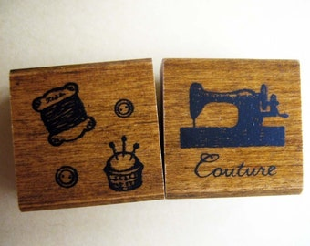 japanese rubber stamp set-2 stamps in a matchbox, sewing theme