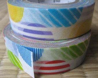 japanese washi masking tape, set of 2 rolls with a big striped polka dot pattern