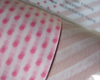 japanese washi masking tape, set of 2 wide rolls with pink dots and dusty pink stripes