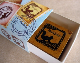 japanese rubber stamp set-2 stamps in a matchbox, lace theme