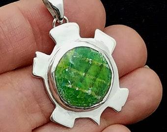 Sterling Silver Turtle Pendant, Green Enamel