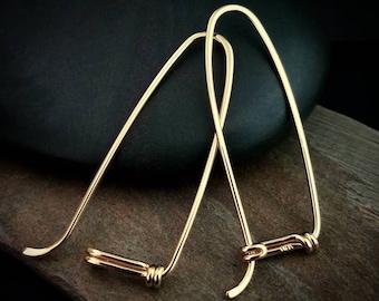 14k Gold Hoop Earrings, Long Hoop Earrings, 14k Solid Yellow Gold