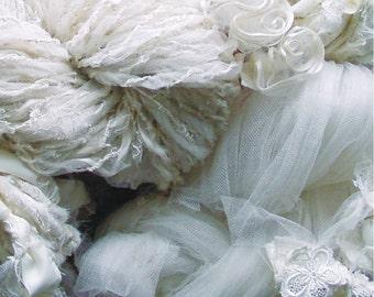 Handspun Art Yarn from my wedding dress  - 181 yds