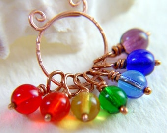 Rainbow Stitch Markers, PRISM, Color Spectrum Stitch Markers  - Set of 7 - US3 - Includes Copper Marker Keeper