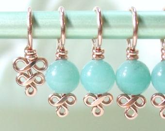 Amazonite and Copper Knitting Stitch Markers - Elegant Swirls