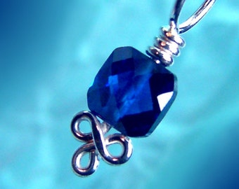ROYALE - Sterling and CZ Stitch Marker - Sapphire Blue - Sized and Made to Order - US6-US15