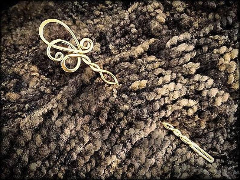 Elegant Twist Shawl Pin  Jeweler's Brass image 0