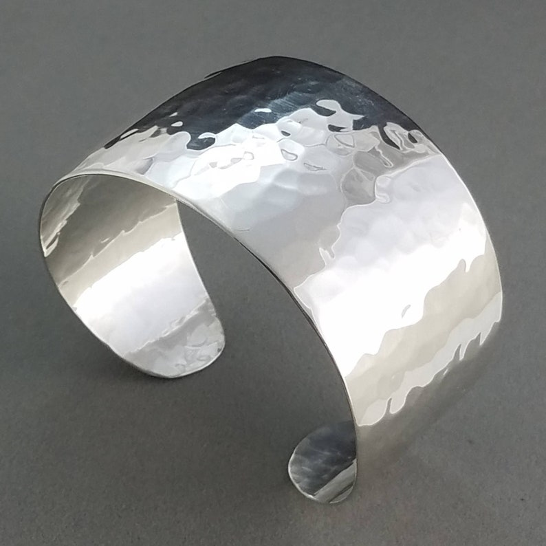 Sterling Bracelet Cuff Wide Hammered Silver Cuff Made to image 0