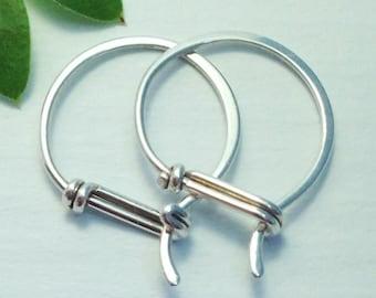 Small Sterling Hoop Earrings - Hook with a Tail Design - Sterling Silver Hoop Earrings 20ga or 18ga, Gifts Under 50