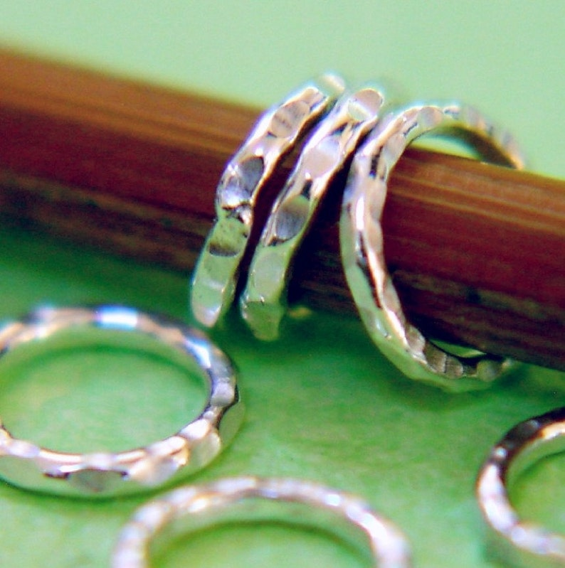 Handmade Sterling Ring Stitch Markers Set of 6 US5 image 0