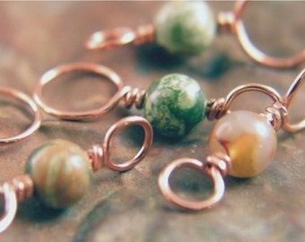 RAINFOREST - Knitting Stitch Markers, Copper and Rhyolite - Set of 4 Dual Duty