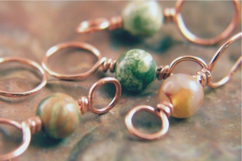 RAINFOREST  Knitting Stitch Markers Copper and Rhyolite image 0