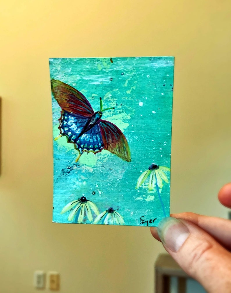 ACEO Art Trading Card Whimsical Butterfly Blue Floral Fine Art Painting OAK Original Miniature Intuitive Painting