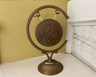 Etched Brass Gong / Altar Display Decor / Meditation / Kong Cong Ra Kah Chime Alarm Peal Knell Toll Signal Tocsin Chieng Luo