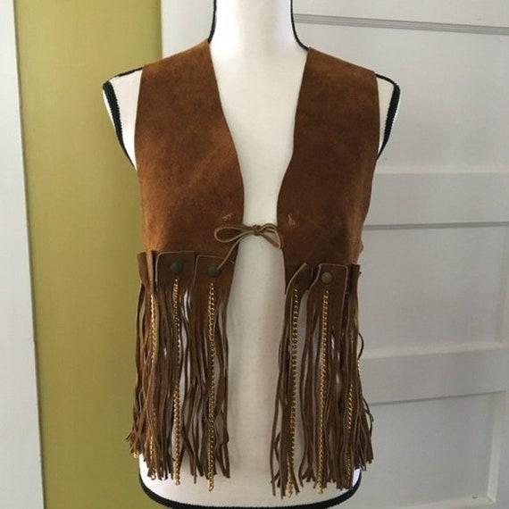 vintage Brown Leather Suede Fringe Chain Vest