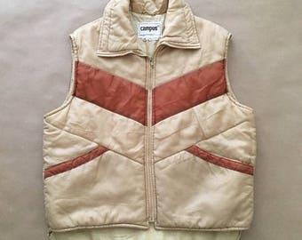 1970's Puffer Vest Mens Womens XL / Chevron / Stripes / Hiking Fashion