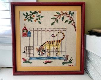 Tiger Zoo Circus Crewel Needlework / Faux Bamboo Frame / Handmade Artwork Nursery Children Decor