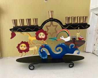 Noah's Ark Menorah / Jewish Judaica Israel Israeli Brass Vintage Hanukkah Zionist Kibbutz / Made in Israel / Colorful